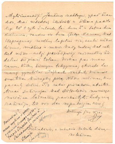 Jurgio Šlapelio paskutinis laiškas šeimai, rašytas pavasarį – 1935 m. gegužės 13 (14?) d.