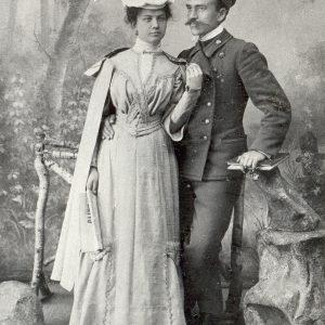 Marijos (Piaseckaitė) ir Jurgio Šlapelių vestuvinė nuotrauka. 1905 m. Marijos ir Jurgio Šlapelių namo-muziejaus archyvas